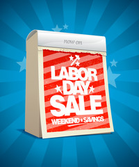 Labor day sale design in form of calendar.
