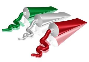 Farbtuben in den Farben der italienischen Flagge