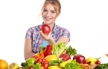 Young healthy woman with fruits and vegetables. Diet.