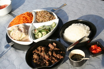 Korean food - beef with rice and different salad