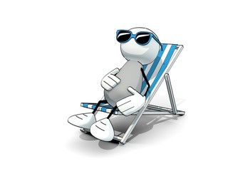 little sketchy man with sunglasses in a deck chair
