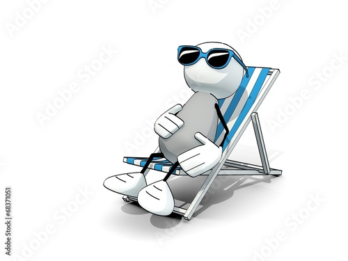 canvas print picture little sketchy man with sunglasses in a deck chair