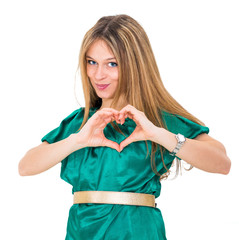 young woman make heart