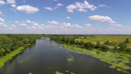 Small river with leaves and hot summer day .Aerial view