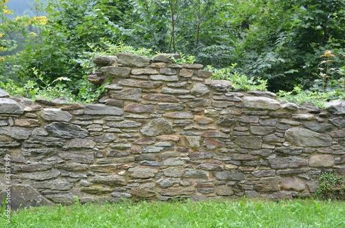 Leinwanddruck Bild Original Natursteinmauer alt