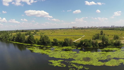 River panorama with the suburb .Aerial view