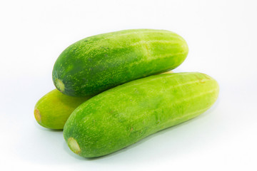 Fresh Asian cucumbers on white background