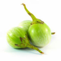 Small Green Eggplant on white background