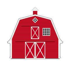Traditional american red barn isolated