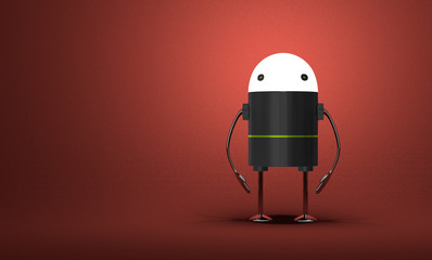 Robot with glowing head standing on red