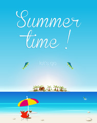 Summer Seaside View Poster, easy all editable