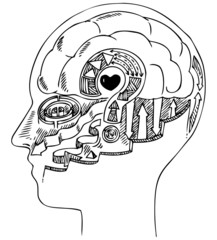Black and white man profile with brain and heart