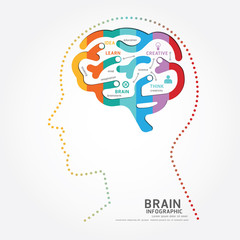 infographics vector brain design diagram point style template