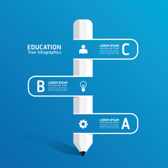 vector Creative infographic Template with pencil ribbon line ban