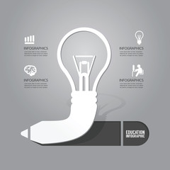 Vector light bulb with pencil icon concept of idea.design for in