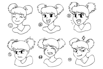 Six different expressions, manga girl