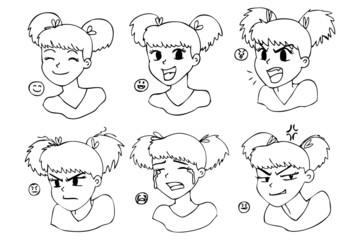 Six different expressions, manga girl