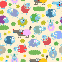 Sheep and wolf. Seamless pattern