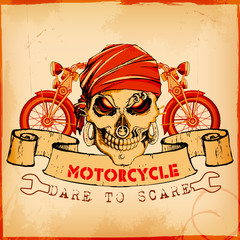 Skull on vintage motorcycle background