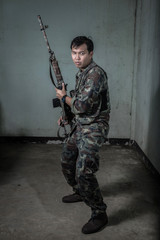 Special force with the gun, soldier