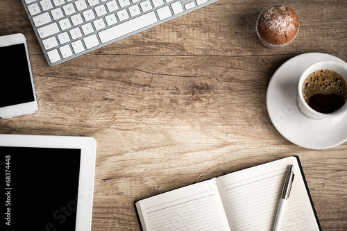 Wo0den  table with office  supplies - 68374448