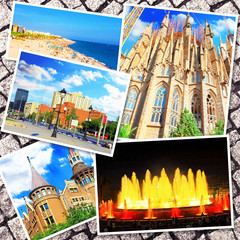 Collage of beautiful Barcelona. Catalonia. Spain.
