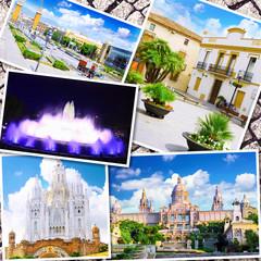 Collage of beautiful Barcelona. Catalonia. Spain.