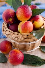 fruit lying in a wicker bascket