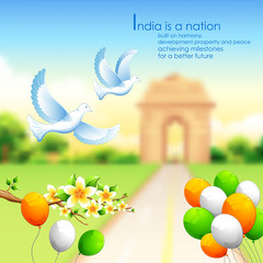 India background with tricolor balloon and India Gate