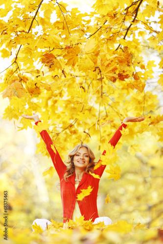 canvas print picture Happy woman in autumn park