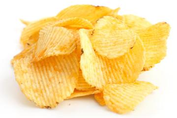 Crinkle cut crisps on white background.