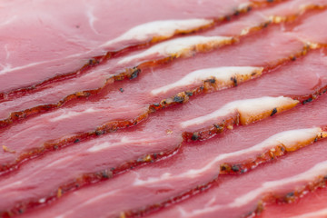 Detail of slices of  black forest ham.