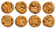 Collection of chocolate chip cookies isolated from above. - 68376218