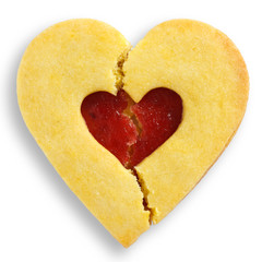 Broken heart rich butter biscuits with jam center.
