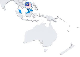Malaysia on a map of Oceania