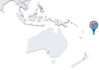 Fiji on a map of Oceania