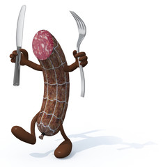 salami with arms, legs fork and knife on hands