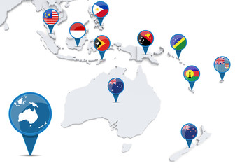 Map of oceania with national flags