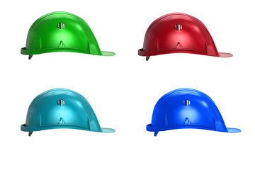 yellow red blue hardhat isolated