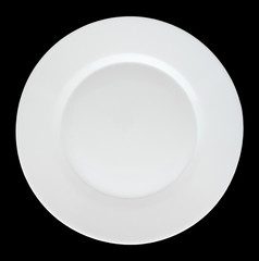 Empty white plate isolated on black background.
