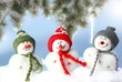 canvas print picture - happy snowmans