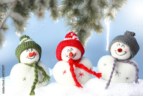 canvas print picture happy snowmans