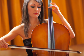 Woman playing her viola