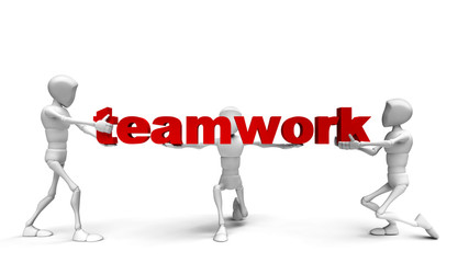 """3d people holding hands in the word """"teamwork"""". 3d image."""