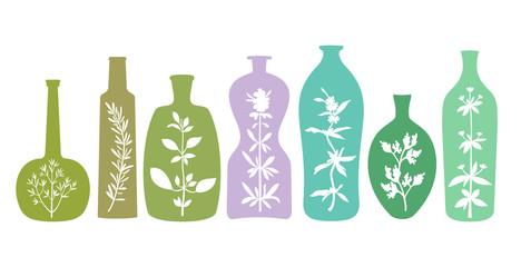 Aromatic Herbs in Bottles