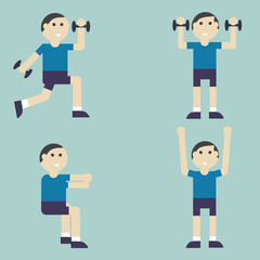 Man exercise in squats posture with dumbbell,healthy concept