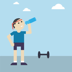 Athletic man with water bottle after his exercising outdoor,vect