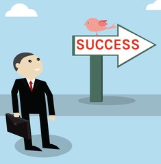 Businessman work forword to success point,vector successful conc