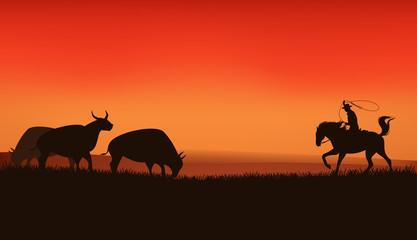 wild west prairie landscape - cowboy chasing the herd of bulls