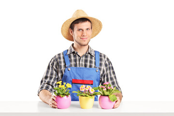Male florist sitting on a table with many flower pots